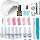 Vishine Gel Nail Polish Starter Kit, with 48W LED Lamp Base Top Coat, 6 Pretty White Pink French Manicure Shades Gels, Nail Gel Kit for Nail Art