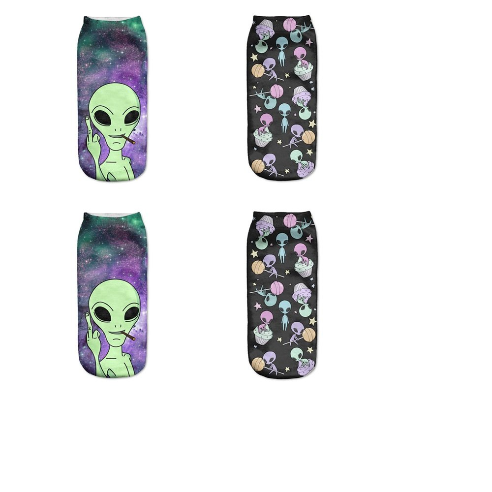 Cute Galaxy Graphic Womens Alien 3D Printed Crew Socks Pack Dark Blue (2 Pairs)