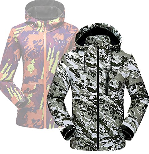 Xiami Leyuan XMLY Mens/Womens Snow Camo Windbreak Softshell Ski Jacket Couples Coat (L(Men 85-95kg), Men Green) by Xiami Leyuan