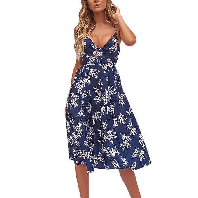 5f81ab35d7 Vestidos de baño Mujer 2019 Mosstars Moda Mujer Botón Floral Verano Faldas  Beach Gallus Manga Corta