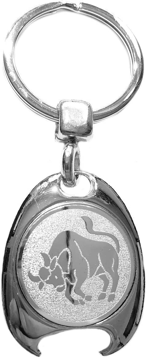 Porte-cl/és avec jeton de chariot et d/écapsuleur Motif signe du zodiaque Argent/é
