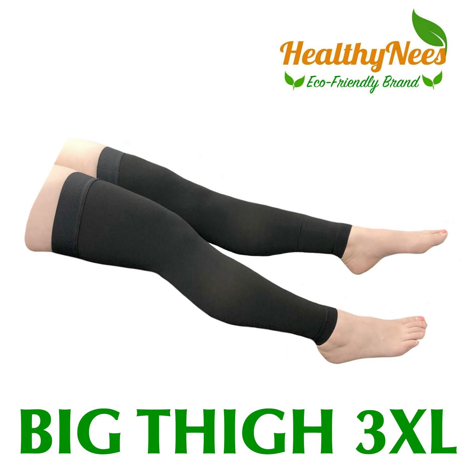 HealthyNees Thigh Sleeve 20-30 mmHg Medical Compression Plus Size Extra Big Wide Above Knee High Length Circulation Thick Calf Leg Shin Sleeve (Black, Big Thigh 3XL)
