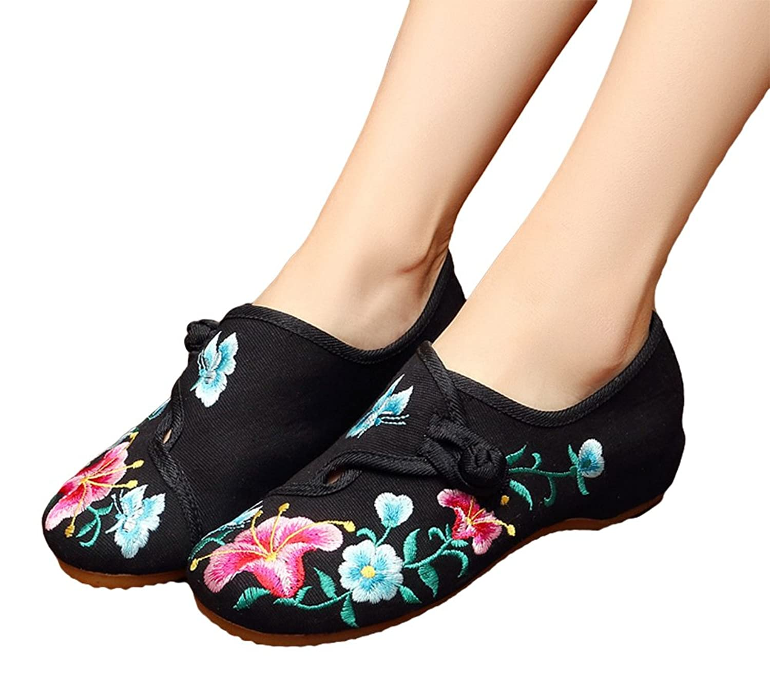 AvaCostume Womens Morning Glory Embroidery Round Toe Rubber Flats Shoes