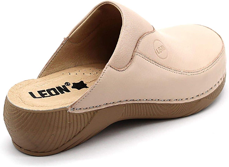 LEON 3100 Sandali Zoccoli Sabot Pantofole Scarpe Pelle Donna