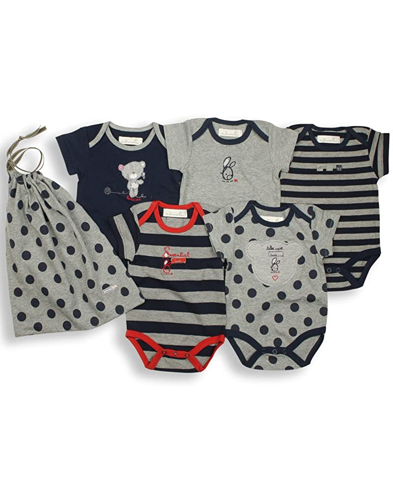 The Essential One - Baby Unisex Multi Pack of 5 Bodysuits/Vests - Navy Blue - ESS16