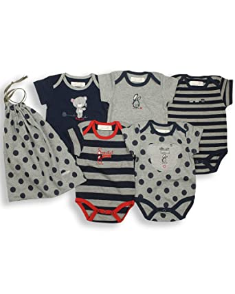 45bc05cf0 The Essential One - Baby Unisex Multi Pack of 5 Bodysuits/Vests - Navy Blue  - ESS16