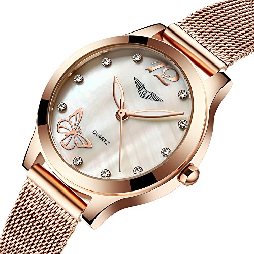 Ultra-thin Waterproof Women Watches coupons for Fashion Quartz Watch Diamond Butterfly G075 (gold butterfly)