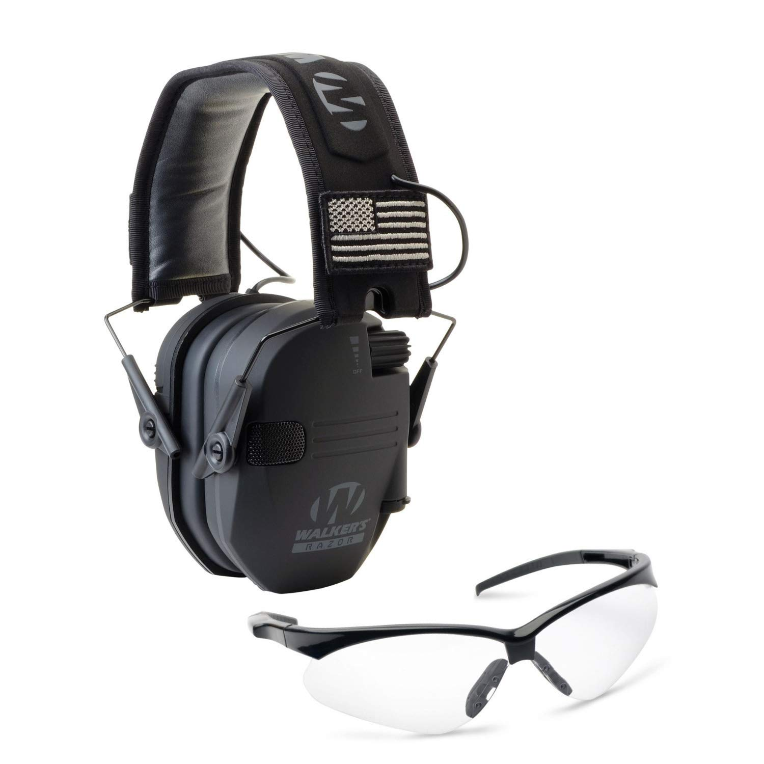 Walkers Razor Slim Electronic Hearing Protection Muffs with Sound Amplification and Suppression and Shooting Glasses Kit, Black Patriot by Walkers (Image #1)