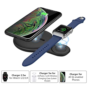 MoKo Qi iWatch Cargador Inalámbrico, Base de Carga Rápida Soporte 2 en 1 Compatible con Apple Watch Series 2/3/4, iPhone XS MAX/XR/X/8 Plus, Samsung ...