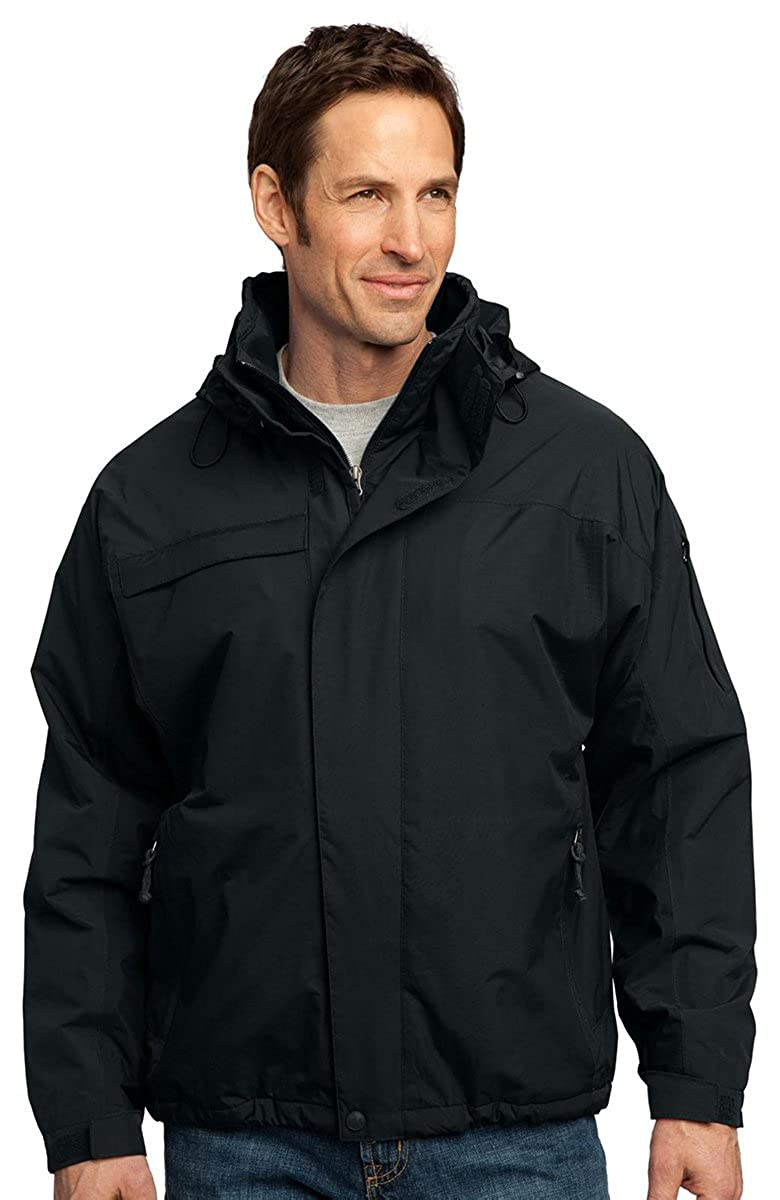 Port Authority Mens Big And Tall Waterproof Jacket/_Black//Black/_XX-Large Tall