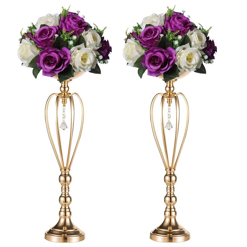 Sziqiqi 2 Pcs/Set Heart-Shaped Wedding Party Flower Rack Ornament, Metal Pillar Candle Stand, Wedding Centerpieces for Reception Tables Elegant (59cm × 2)