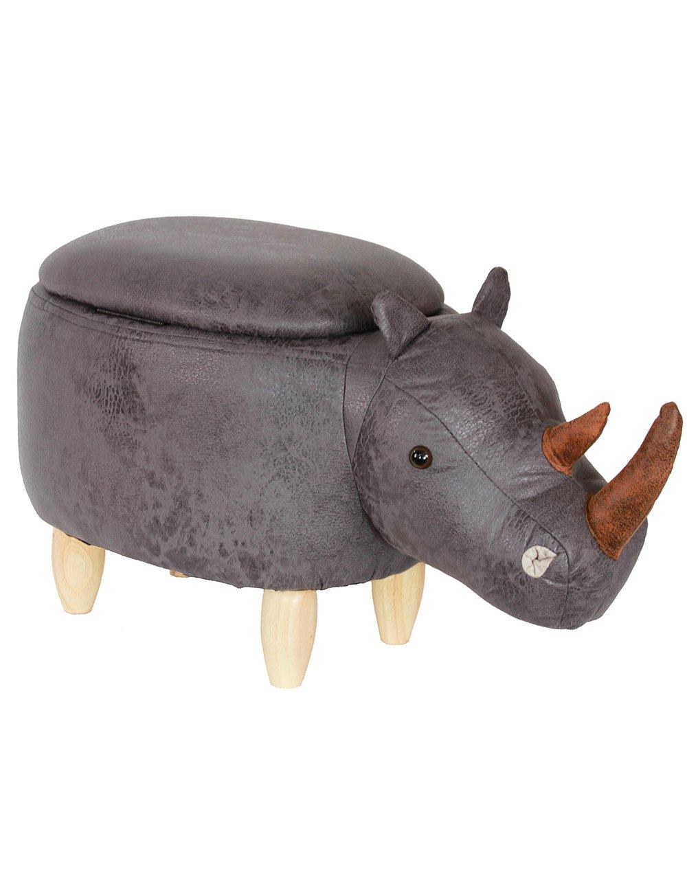 HAOSOON Animal ottoman Series Storage Ottoman Footrest Stool with Vivid Adorable Animal-Like Features(Rhinoceros) (grey) by HAOSOON (Image #2)