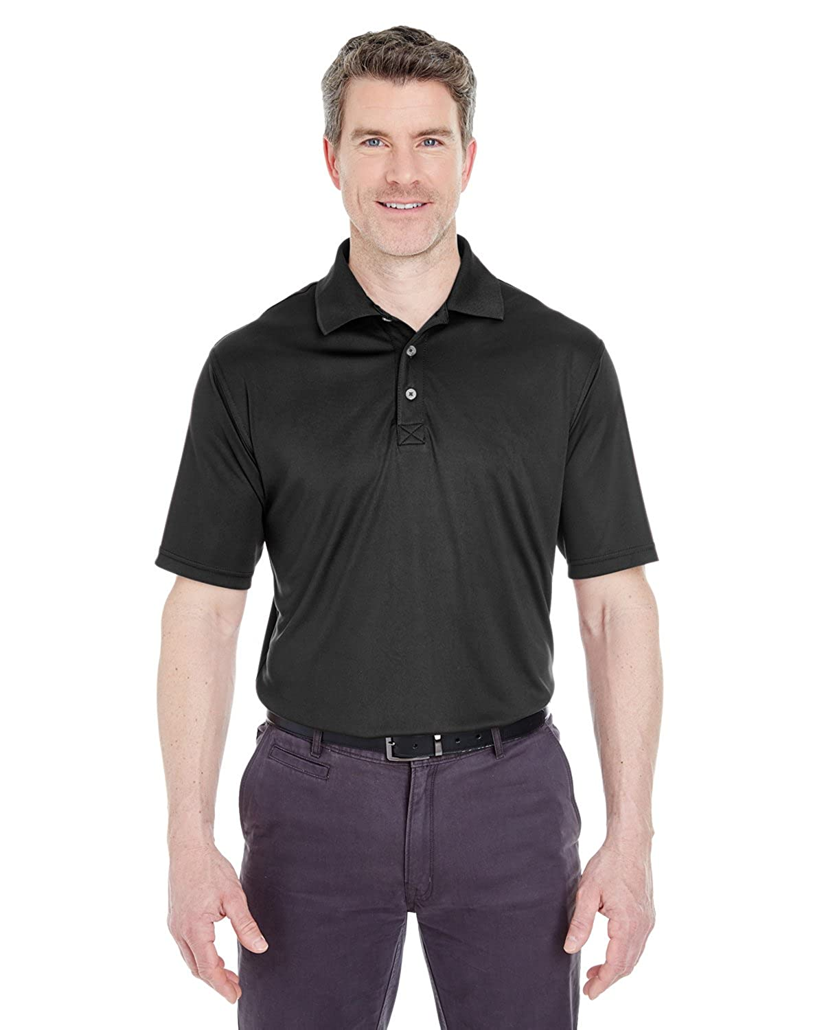 Pack of 6 Black Large. UltraClub Mens Cool /& Dry Interlock Polo Shirt