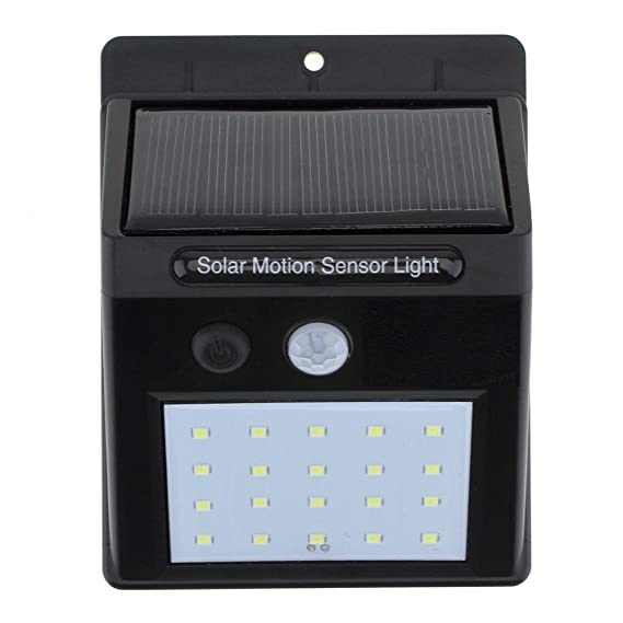 Style Badge Bright Waterproof Solar Wireless Security Motion Sensor LED Night Light for Outdoor/Garden Wall (Black)