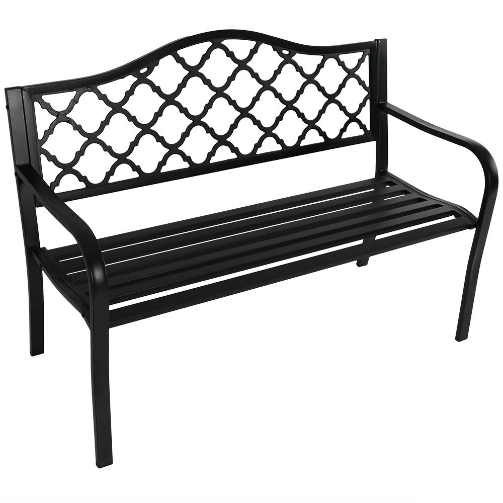 Sunnydaze Decor Outdoor Bench, Garden Patio, Cast Iron Metal Lattice, Black