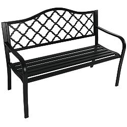 Sunnydaze Decor Outdoor Bench, Garden or Patio, Cast Iron Metal Lattice, Black