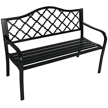 Cool Sunnydaze Decor Outdoor Bench Garden Or Patio Cast Iron Metal Lattice Black Evergreenethics Interior Chair Design Evergreenethicsorg