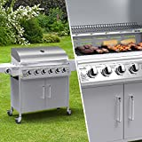 BillyOh Origin 6 Burner + 1 Side Burner Gas BBQ Silver Powder Coated Stainless Steel Heavy Duty Hooded Barbecue Grill