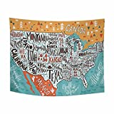 USA Map with States Tapestries Wall Art Home Decor, Geographical Poster of America Rectangle Tapestry Wall Hanging Art Sets 80 X 60 Inches