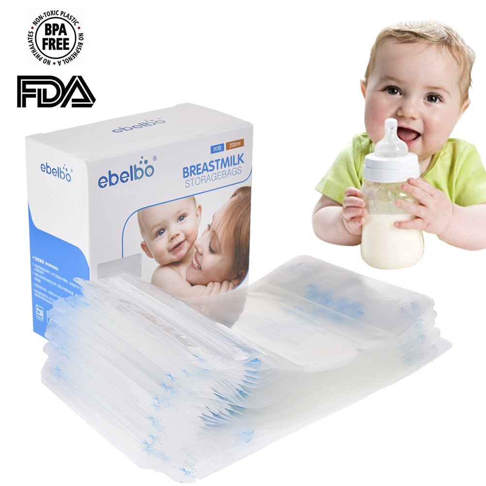 Breastmilk Storage Bags latte materno pre-sterilized Easy Freeze 200ml Seal allattamento congelatore contenitore a prova di perdite pre-sterilised Pack Infant Baby contenitori misure esatte 30Pcs Olyethylene food grade borsa bambino sicurezza della Comaie