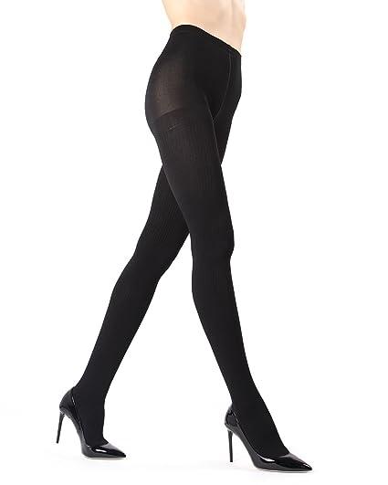 f65d4b31c5752 Memoi Ribbed Plush Lined Fleece Tights   Women's Hosiery - Pantyhose Black  MO 152 Small/