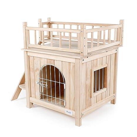 PLDDY Caseta para Mascotas con escaleras/Refugio para Perros de Madera/Habitación para Gatos