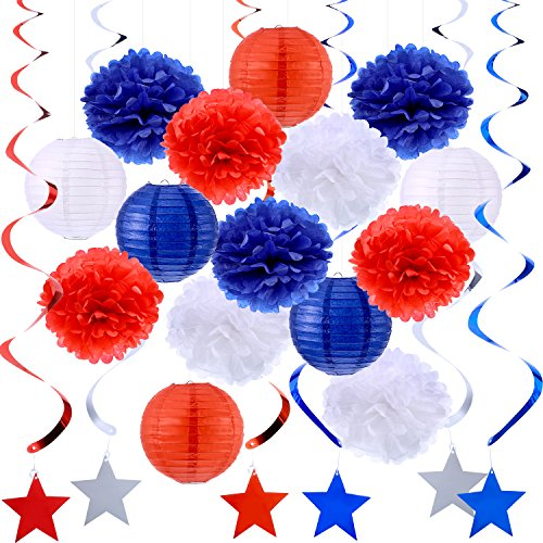 rations Dangling Swirl Pom Poms Tissue Paper Lantern Red White Blue Decoration Kit with Crystal Thread Roll ()