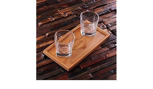 Personalizado Bar Bandeja Set con decantador y 2 WHISKY gafas por distintivo mercancías: Amazon.es: Hogar