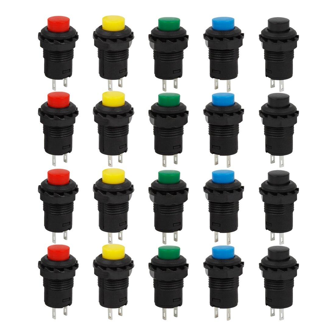 Larcele 20x 12mm Interruptor de Botón Pestillo de Plástico Bricolaje Mini Interruptores ANKG-03 (5 Colores): Amazon.es: Coche y moto