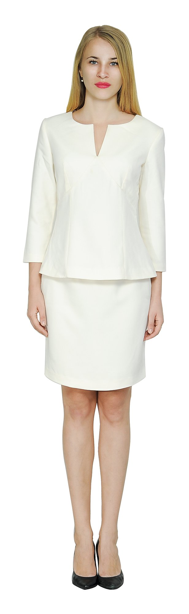 Marycrafts Women's Elegant Skirt Suit Set Work Office Business Wear 12 Beige