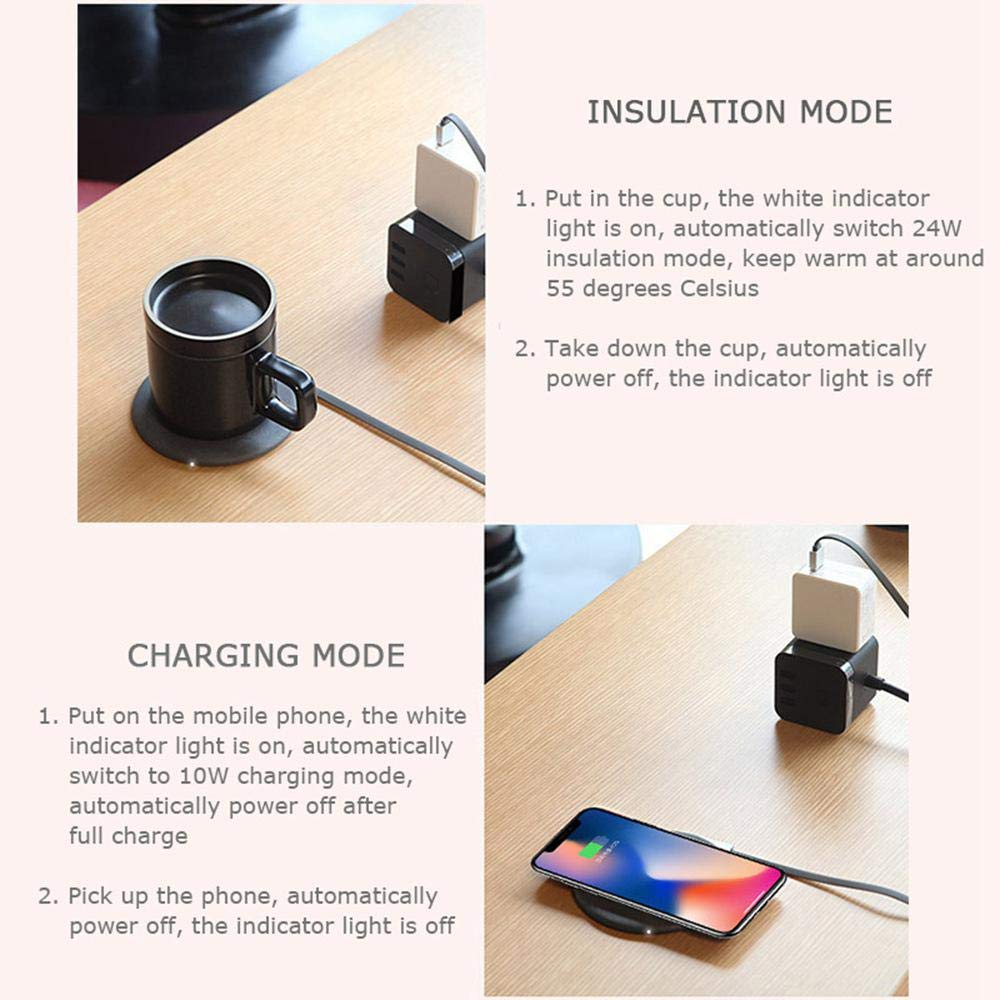 AUOKER Coffee Mug Warmer Wireless Charger, USB Mug Warmer Auto Shut Off with Automatic Thermostatic Smart Warmer for Mobile Phone Wireless Charger - Made in China's Porcelain Capital - Jingdezhen by AUOKER (Image #3)