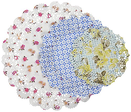 Price comparison product image Talking Tables Truly Scrumptious Floral Paper Doilies for a Tea Party, Multicolor (48 Pack)
