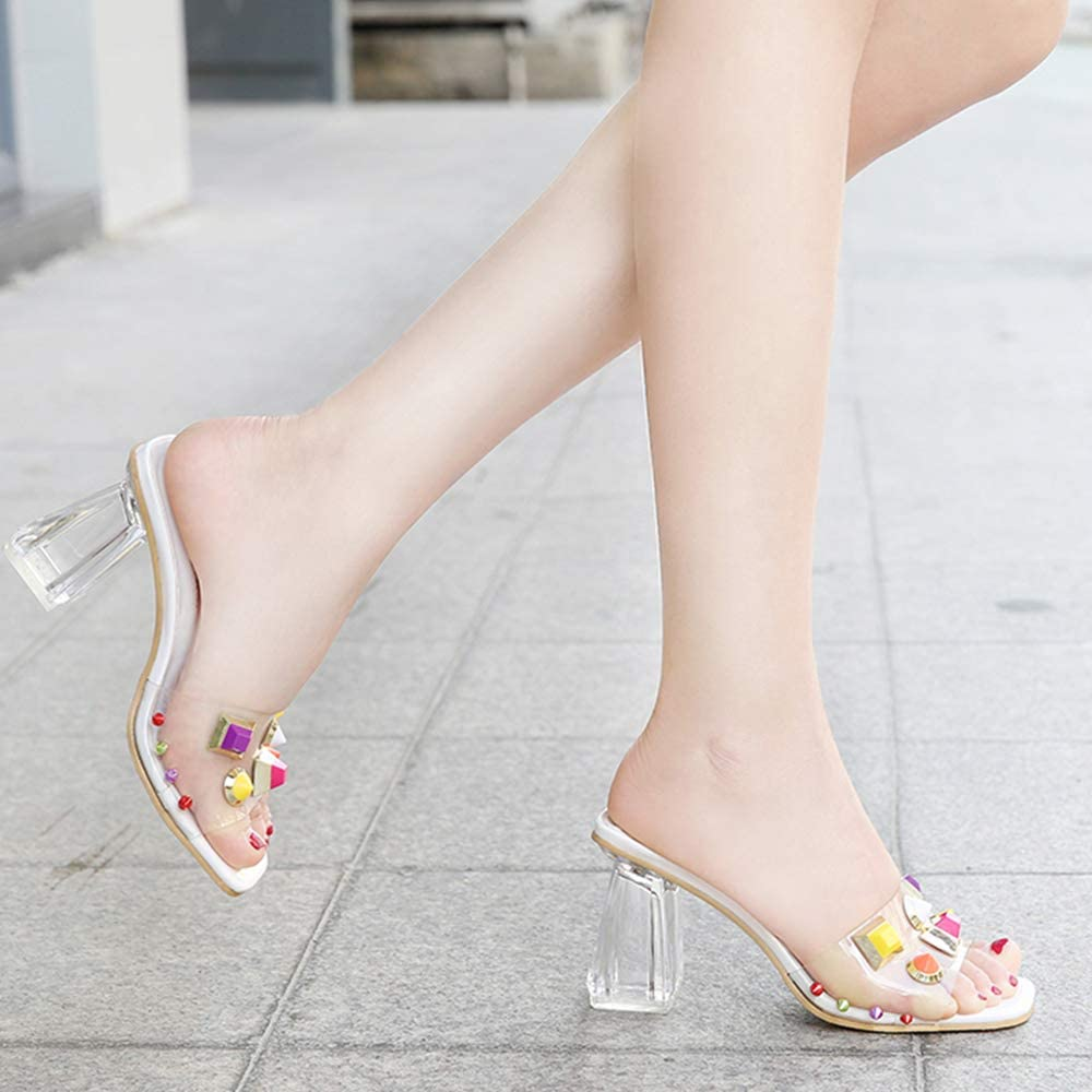 LIANGXIE Womens High Heels Cross Party Wedding Shiny Square Sandals Womens Shoes High Heel Open Toe Hollow Transparent Word SandalsXIAOQI