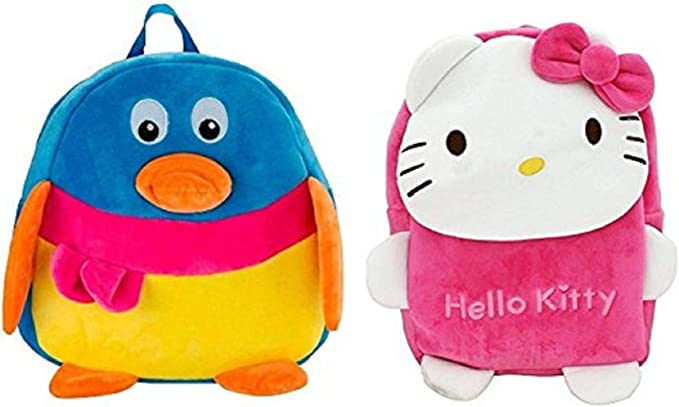 Blue Tree School Bag for Kids/Girls/Boys/Children Plush Soft Bag Backpack Cartoon Bag Gift for Kids Duck New Kitty Cartoon Toy Cute Birthday Return Gift/ School Bag/ Travelling Carry Picnic Bag/ Teddy Bag For Children (Multi Color_3 to 5 Year)