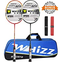 Whizz Badminton Rackets 100% Graphite with Carrying Bag / 2 Grips, Set of 2