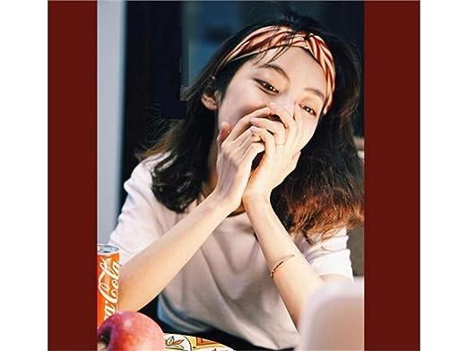 GTYHujn Garra de belleza Banda para el pelo de la raya Diadema elástica de la venda del paño Diademas impresas del deporte flexible para las mujeres (rojo): ...