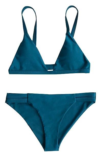 bcf9610402 Joy Bella Solid Color Triangle Branzilian Bikini Set Padded Swimwear Sexy  Back Shirring Bathing Suit (S