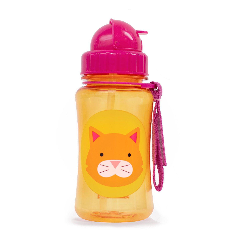 Skip Hop Zoo Straw Bottle, Holds 12 oz, Chase Cat