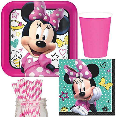 Minnie Happy Helpers Party Supplies Bundle, Plates, Napkins, Cups & Straws for 16 Guests