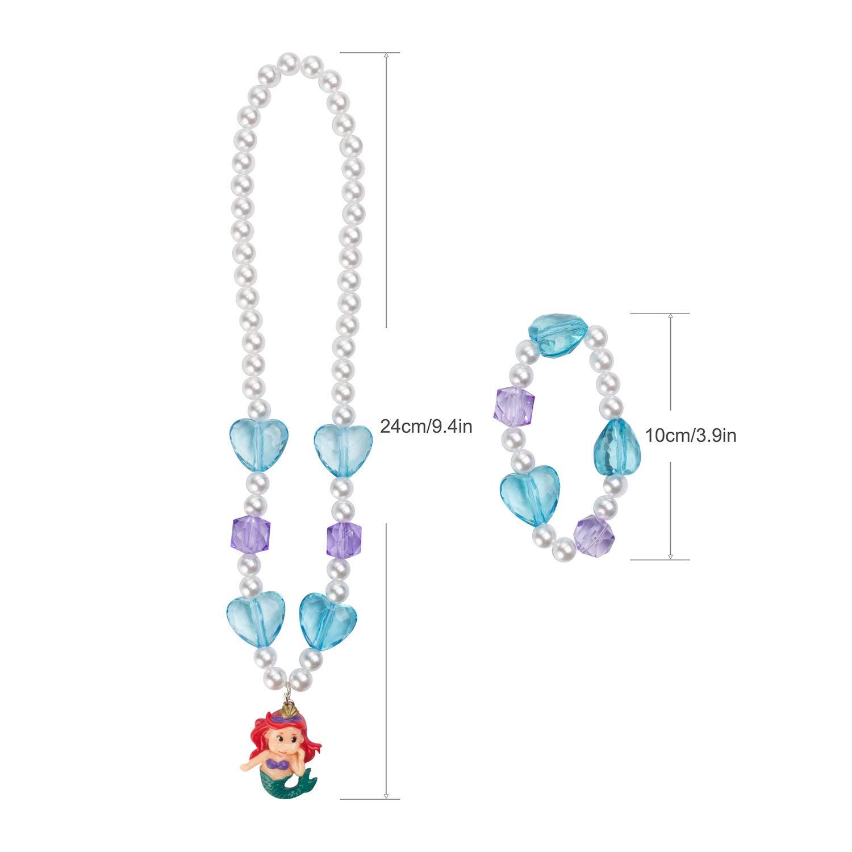 Maelovebunny Children Mermaid Necklace,Bracelet Set,Little Girls Toddlers Mermaid jewellery Set,Great Costume Jewelry for Children Pretend and Dress Up-Heart Mermaid