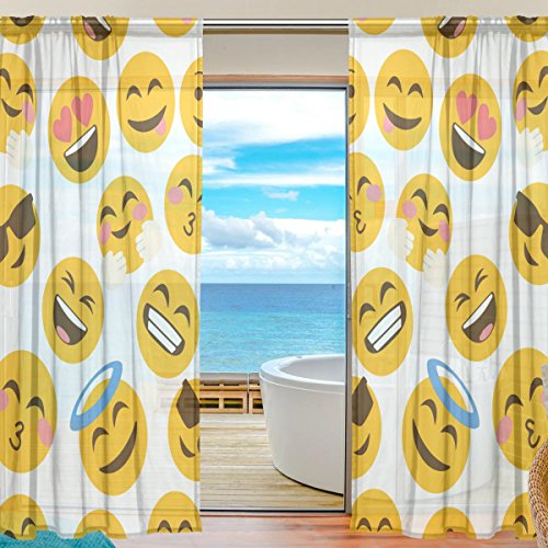 "ALAZA Sheer Window Curtains Voile Panels Funny Emoji Emotions for Living Room Bedroom Kids Room Curtains Polyester 55""Wx78""L Per Panel Set of 2 Panels - Sheer Emotion"