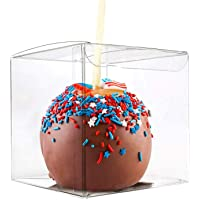 Thalia 30 Pcs Candy Apple Box with Hole Top, PET Clear Box, Transparent Boxes, Clear Gift Boxes for Caramel Apples, Ornaments, Treats, Party Favors, 4″ L x 4″ W x 4″ H