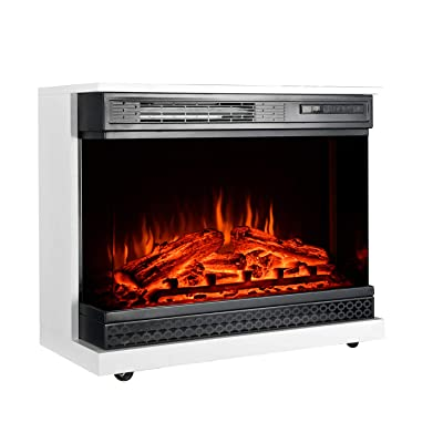Buy Gmhome 25 Inches Portable Electric Fireplace Free Standing Heater Three Sides Glass View Window 1500w White Online In Turkey B08qd8fzvp
