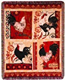 Manual Fringed 50 x 60-Inch Tapestry Throw, La Provence Roosters