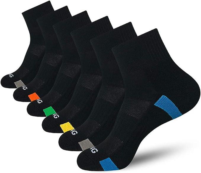 6 Pack Hiking BERING Mens Athletic Cushion Quarter Socks for Running Work