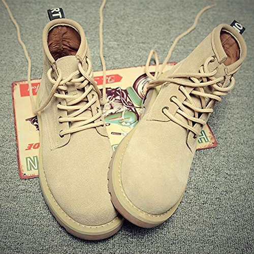 Oxfords Leather Style Boots Casual Lace Suede Genuine High Sand Men's Fashion British up PP Stylish Top qzHx6a