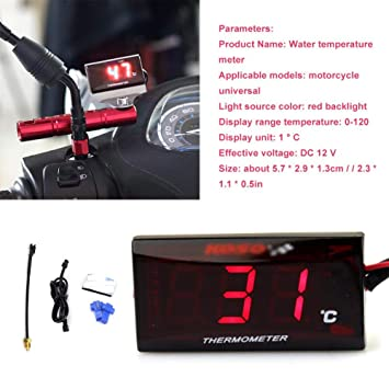 Rot Keenso Universal Motorrad Digital Thermometer Wassertemperatur Messger/ät f/ür das Laufen des Rollers rotes LED Licht