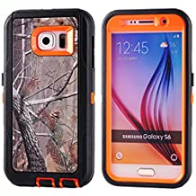 MOONCASE Galaxy S6 Case, [Realtree Camo Series] 3 Layers Heavy Duty Defender Hybrid Soft TPU +PC Bumper Triple Shockproof Drop Resistance Protective Case Cover for Samsung Galaxy S6 -Orange Tree