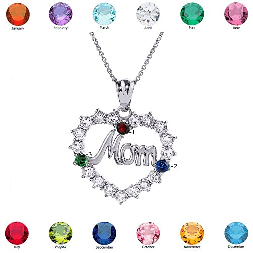 Mother s Jewelry 925 Sterling Silver MOM Open Heart Pendant Necklace with 3 CZ Birthstones