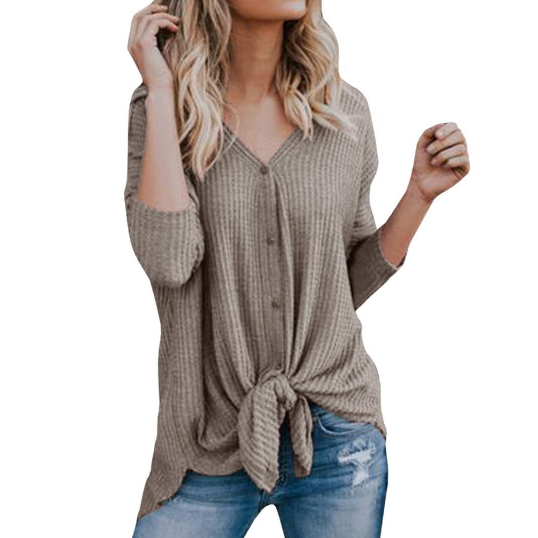 BCDshop Women Shirts V Neck Button Down Full Sleeve Knit Sweater Top Blouse (Khaki, XXL)